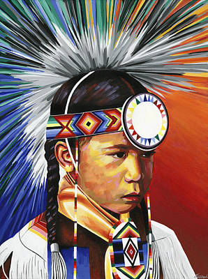 Painting - The Little Powwow Dancer by Tyrone Whitehawk