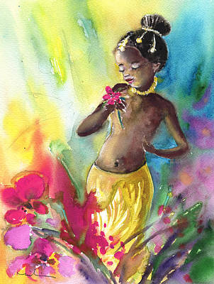 Holding A Flower Painting - The Little Princess And The Flower by Miki De Goodaboom