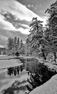 Winter Scene And Lake Photograph - The Little Red Boathouse In Old Forge by David Patterson