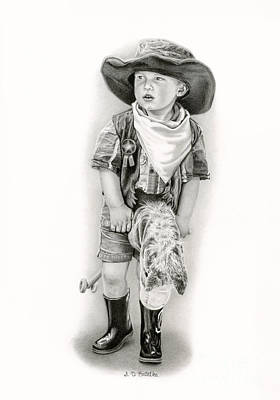 Toys Drawing - The Little Sheriff by Sarah Batalka
