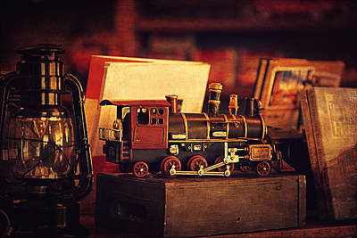 Library Digital Art - The Little Train On The Shelf by Maria Angelica Maira