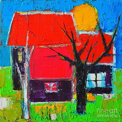 Vivid Colour Painting - The Little Village With Three Houses Two Trees And One Sun by Ana Maria Edulescu