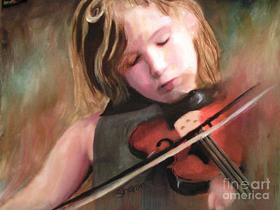Painting - The Little Violinist by Sharon Burger