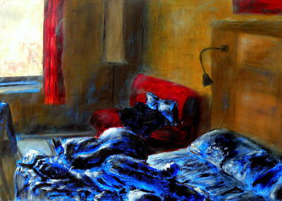 Unmade Bed Painting - The Lived In Room by Uma Krishnamoorthy
