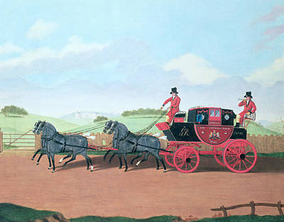 The Liverpool And London Royal Mail Coach, 1812 Oil On Canvas Art Print