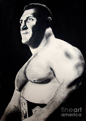 Charcoal Drawing - The Living Legend Of Wrestling Bruno Sammartino by Jim Fitzpatrick
