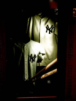Mickey Mantle Photograph - The Locker  Mickey Mantle's And Joe Dimaggio's Locker by Iconic Images Art Gallery David Pucciarelli