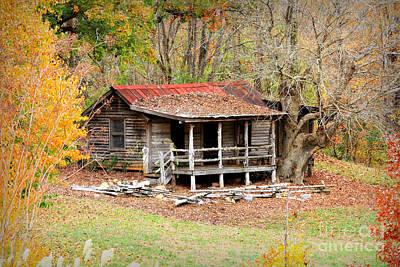 The Log Cabin In The Woods Print by Reid Callaway