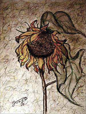 Sunflowers Drawings - The Lone Sunflower III by Jose A Gonzalez Jr