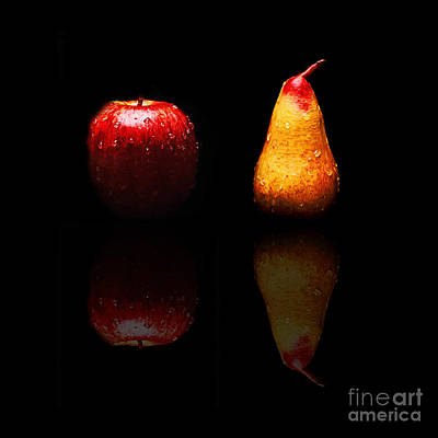 Pears Photograph - The Lonely Apple And Tears Of A Sad Pear  by Andee Design