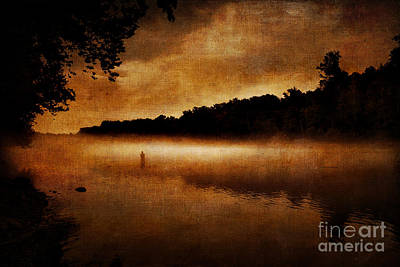 The Lonely Fisherman Art Print by Cindy Tiefenbrunn