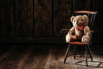 Sitting Bear Photograph - The Lonely Forgotten Bear by Olivier Le Queinec