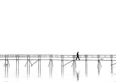 Minimalism Photograph - The Lonely Man On The Plank Bridge by Hans Peter Rank