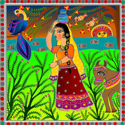 Diwali Digital Art - The Lonely Radha-madhubani Style-digital by Latha Gokuldas Panicker