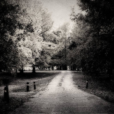 Photograph - The Lonely Road -textured Photo Art Monochrome by Ann Powell