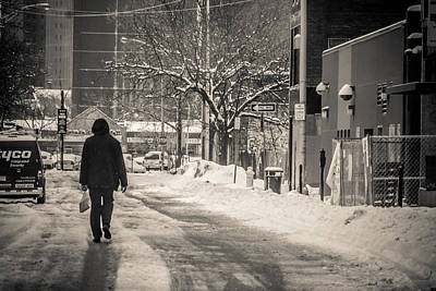 The Lonely Snowy Walk Art Print