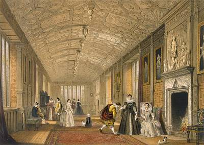 Reliefs Drawing - The Long Gallery At Lanhydrock by Joseph Nash