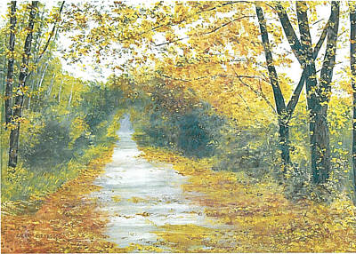 Kentucky Landscape Artist Painting - The Long Road Home - Oil by Gerry Furgason
