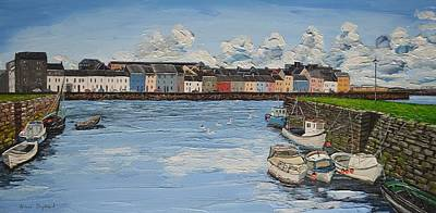 Painting - The Long Walk Boats Galway Ireland by Diana Shephard