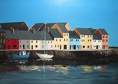 Irish Landscape Painting - The Long Walk Galway by Tony Gunning