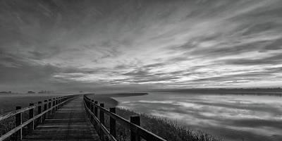 Boardwalk Wall Art - Photograph - The Long Wooden Footbridge. Dark Version. by Leif L?ndal