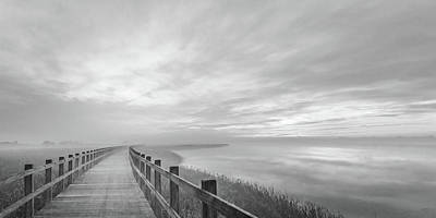 Wooden Platform Photograph - The Long Wooden Footbridge. by Leif L?ndal