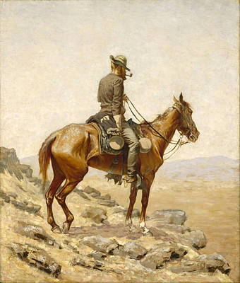 Famous Horse Art Painting - The Lookout by Frederic Remington
