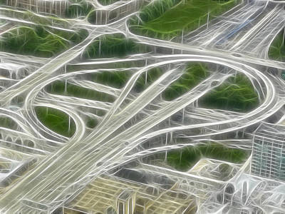 Digital Art - Chicago's Interstate Traffic Loop Frac Filter by Ginger Wakem