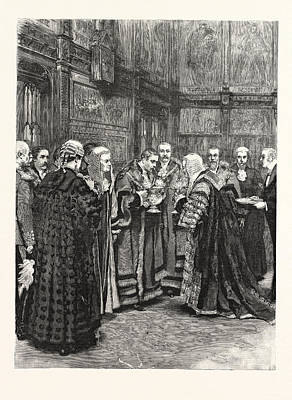 Chancellor Drawing - The Lord Chancellor Expressing Her Majestys Approval by English School