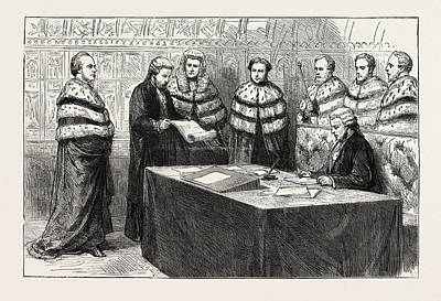 Chancellor Drawing - The Lord Chancellor Taking His Seat In The House Of Lords by English School