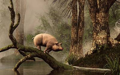 Pig Digital Art - The Lost Pig by Daniel Eskridge