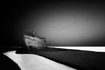 Stranded Wall Art - Photograph - The Lost Ship by Sajin Sasidharan