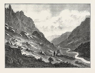 Found Art Drawing - The Lost Tourist In The Cumberland Mountains by English School