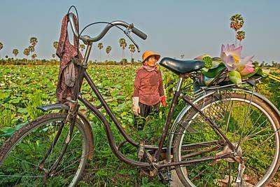 Cambodian Painting - The Lotus Bike by Nichon Thorstrom