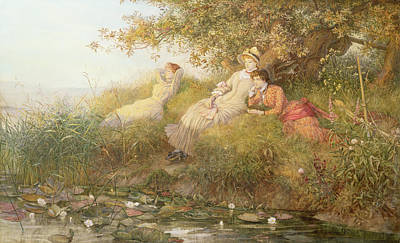 Lotus Leaves Painting - The Lotus Eaters, 1893 by Charles J Staniland