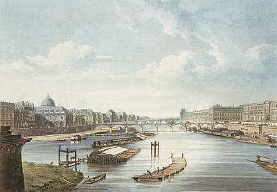 Parisian Drawing - The Louvre, From Views On The Seine by Augustus Charles Pugin