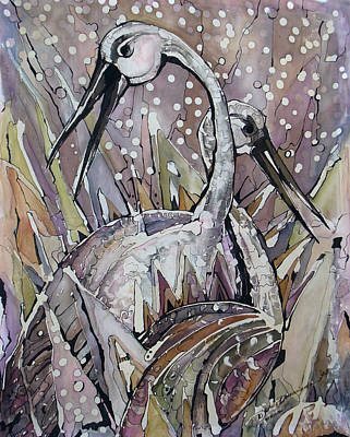 Painting - The Love Dance Of Ibises by Deyana Deco