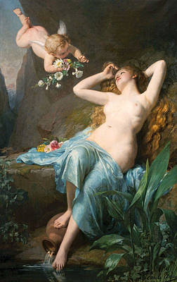 Nymphe Digital Art - The Love Of The Nymph by Louis Emile Adan