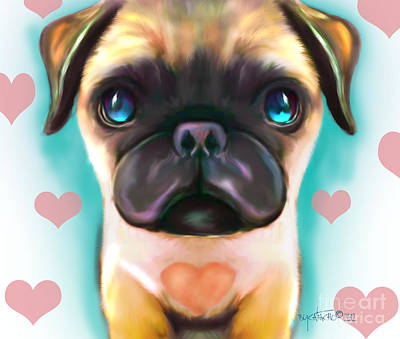 Digital Art - The Love Pug by Catia Cho