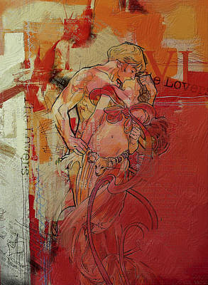 Gemini Painting - The Lovers  by Corporate Art Task Force