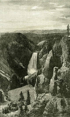 Yellowstone Drawing - The Lower Falls And The Canon Of The Yellowstone From Point by English School