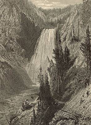 The Grand Canyon Of The Yellowstone Painting - The Lower Falls Of The Yellowstone River by Antique Engravings