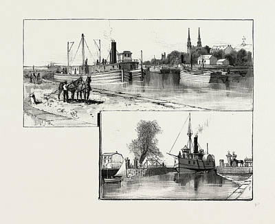 Lachine Drawing - The Lower Ottawa, Canal And Locks At Lachine by Canadian School