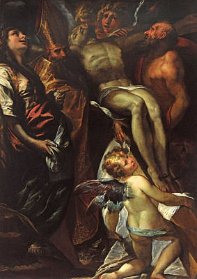 St Mary Magdalene Painting - The Lowering Of The Cross With Sts Mary Magdalene Augustine Jerome And Angels by Giulio Cesare Procaccini