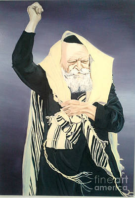 The Lubavitcher Rebbe Farbrengs Art Print by Elana Cohen