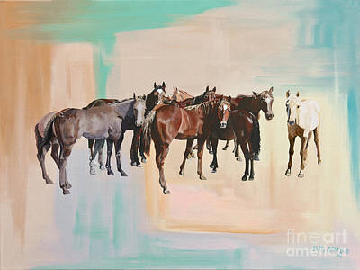 Chestnut Dun Horse Painting - The Lucky Ones by Patty Stern