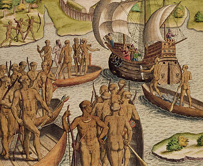 Canoes Drawing - The Lusitanians Send A Second Boat Towards Me, From Americae Tertia Pars by Theodore de Bry