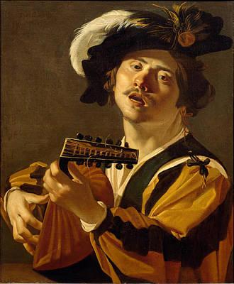 Lute Painting - The Lute Player by Dirck van Baburen