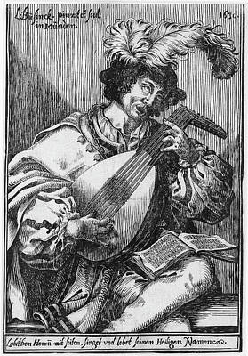 Lute Drawing - The Lute Player, Ludwig Bsinck by Ludwig B?sinck