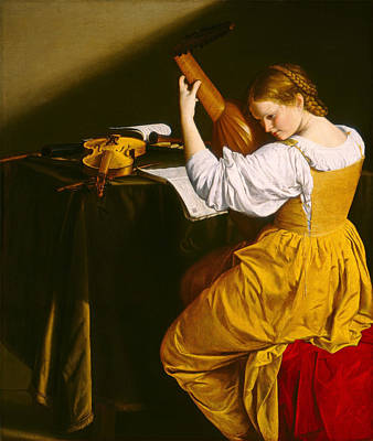 Lute Painting - The Lute Player by Orazio Gentileschi